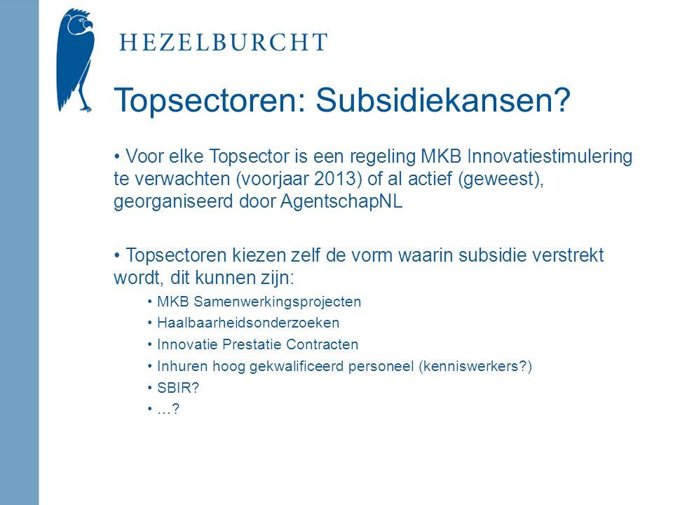 Topsectoren: Subsidiekansen.