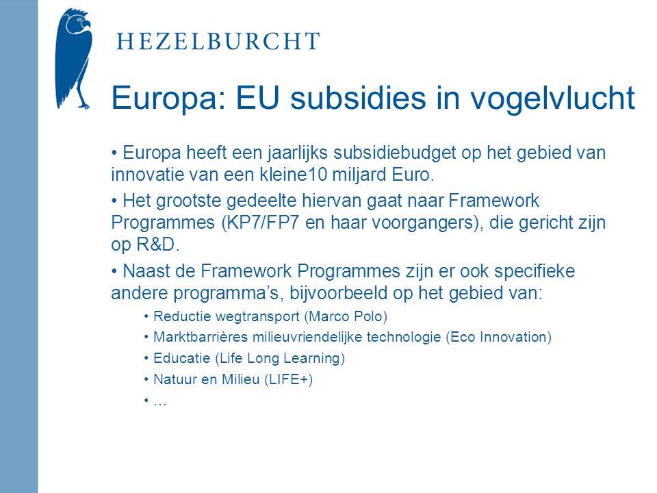 Europa: EU subsidies in vogelvlucht Europa heeft een jaarlijks subsidiebudget op het gebied van innovatie van een kleine10 miljard Euro.