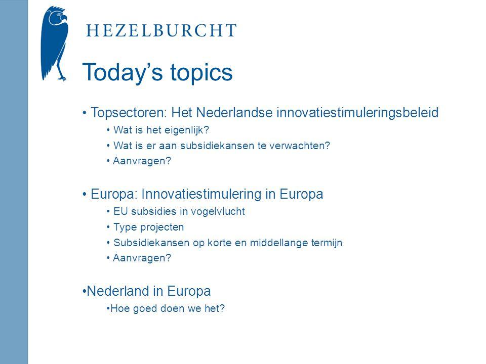 Today's topics Topsectoren: Het Nederlandse innovatiestimuleringsbeleid Wat is het eigenlijk.