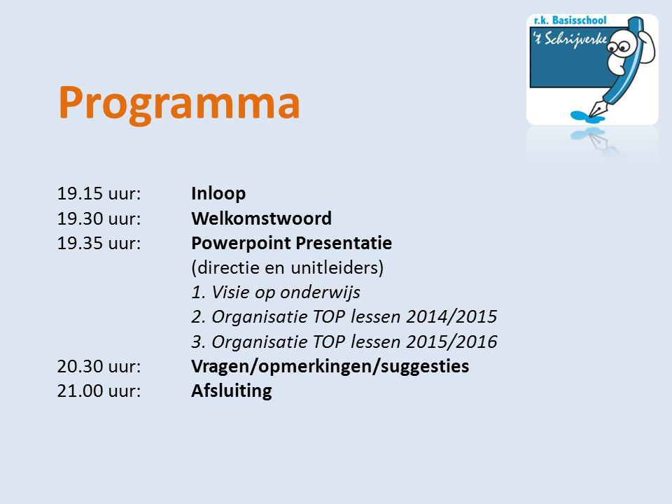 Programma 19.15 uur:Inloop 19.30 uur:Welkomstwoord 19.35 uur:Powerpoint Presentatie (directie en unitleiders) 1. Visie op onderwijs 2. Organisatie TOP