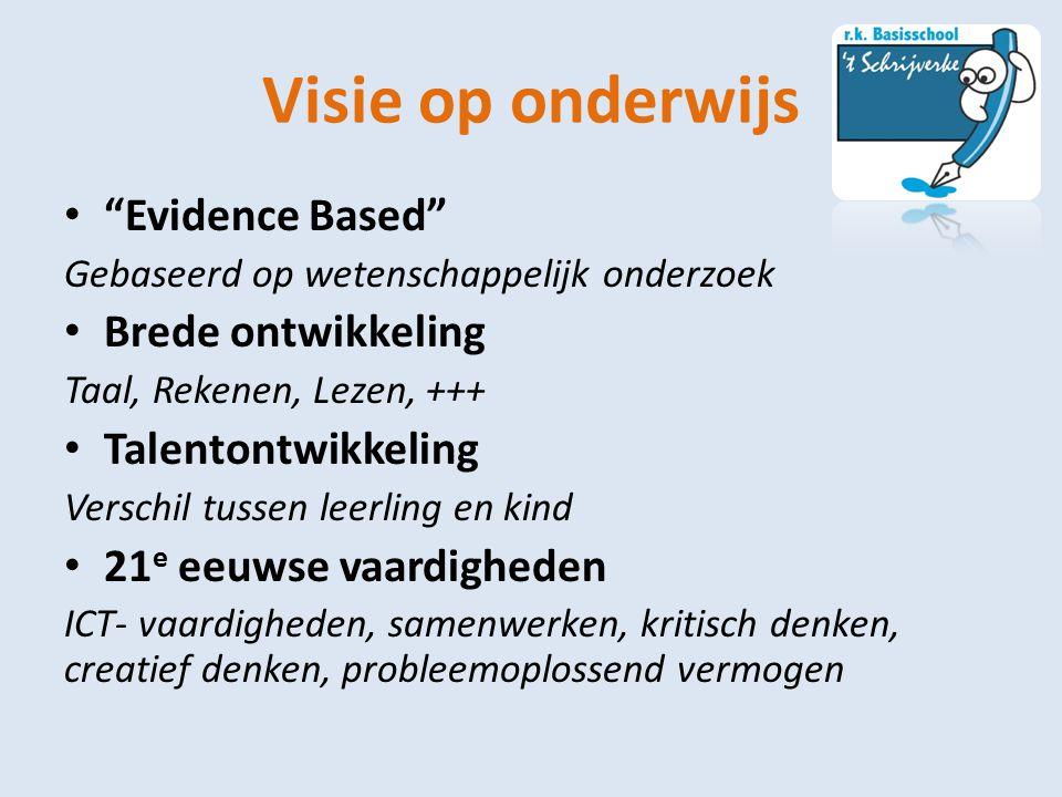 """Visie op onderwijs """"Evidence Based"""" Gebaseerd op wetenschappelijk onderzoek Brede ontwikkeling Taal, Rekenen, Lezen, +++ Talentontwikkeling Verschil t"""
