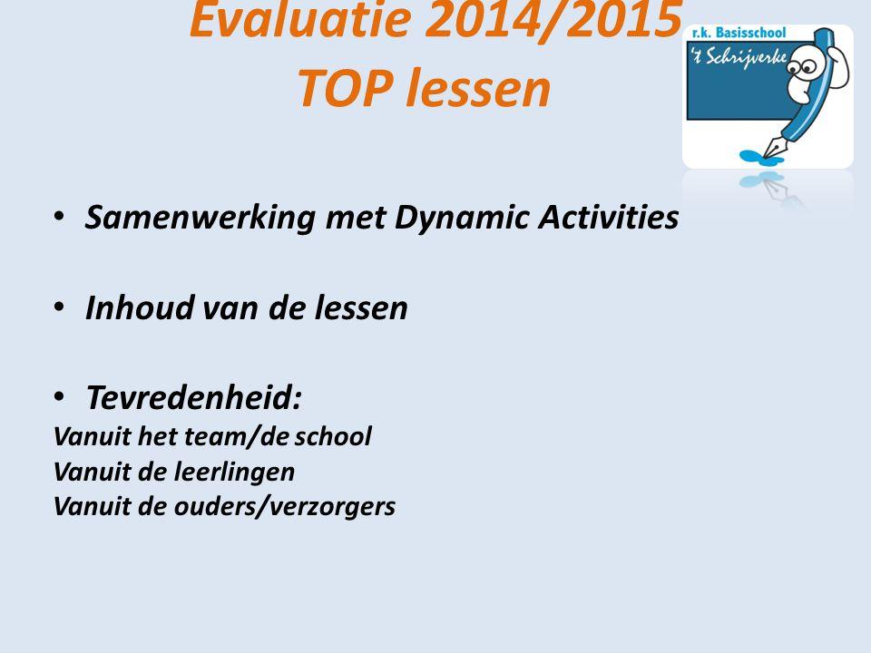 Evaluatie 2014/2015 TOP lessen Samenwerking met Dynamic Activities Inhoud van de lessen Tevredenheid: Vanuit het team/de school Vanuit de leerlingen V