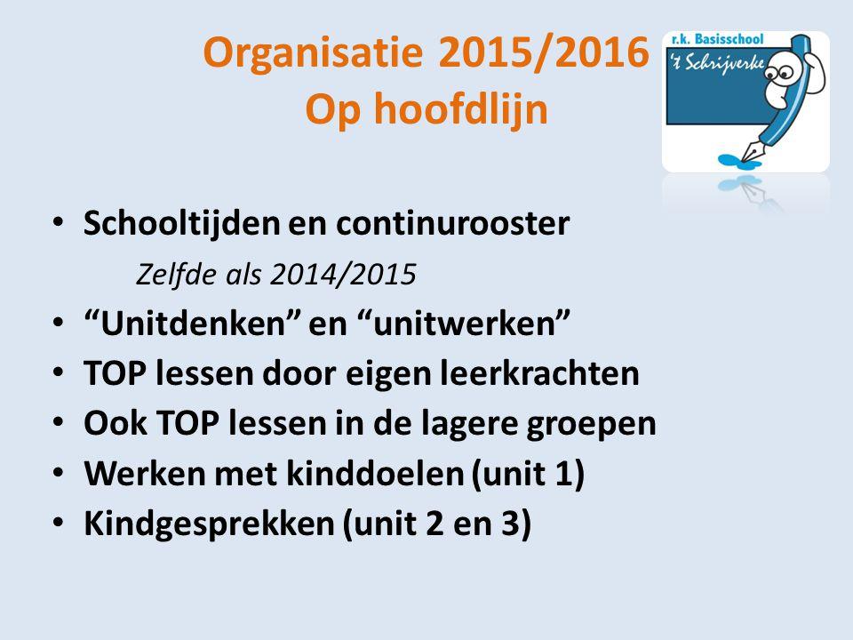 """Organisatie 2015/2016 Op hoofdlijn Schooltijden en continurooster Zelfde als 2014/2015 """"Unitdenken"""" en """"unitwerken"""" TOP lessen door eigen leerkrachten"""