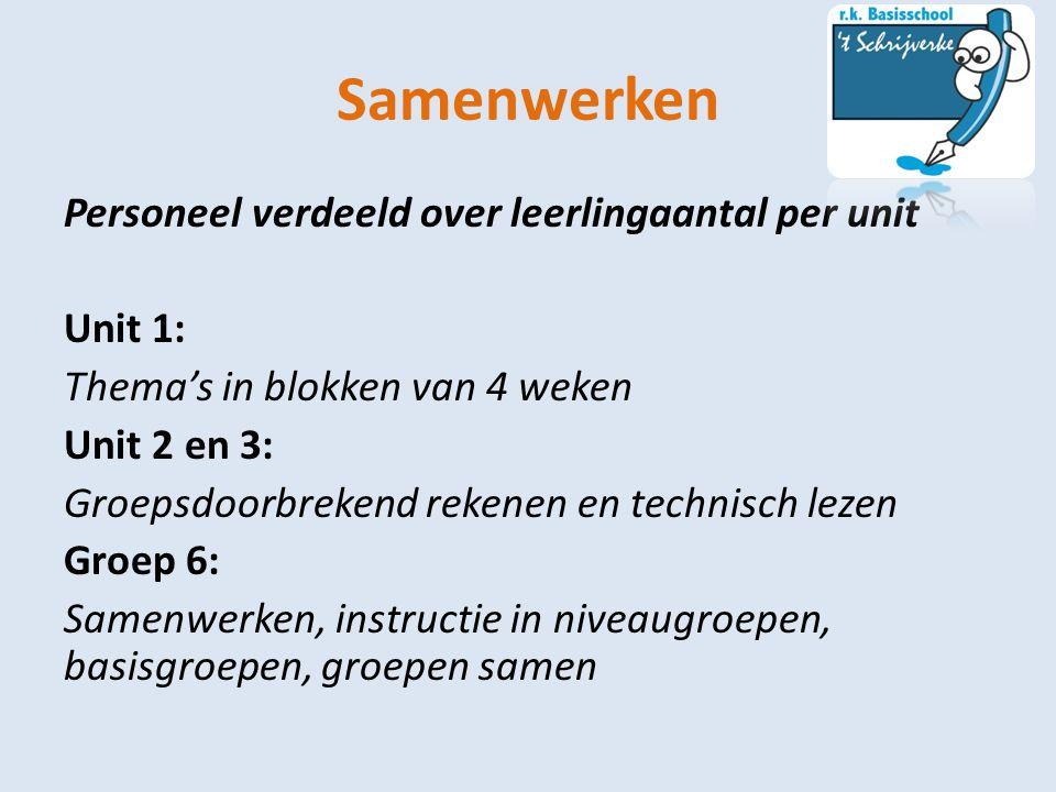 Samenwerken Personeel verdeeld over leerlingaantal per unit Unit 1: Thema's in blokken van 4 weken Unit 2 en 3: Groepsdoorbrekend rekenen en technisch