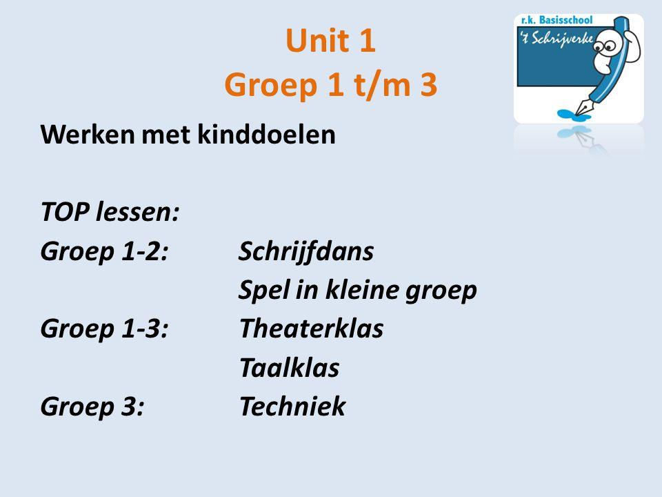 Unit 1 Groep 1 t/m 3 Werken met kinddoelen TOP lessen: Groep 1-2:Schrijfdans Spel in kleine groep Groep 1-3: Theaterklas Taalklas Groep 3:Techniek