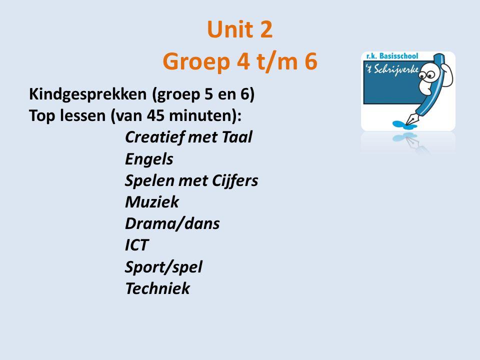 Unit 2 Groep 4 t/m 6 Kindgesprekken (groep 5 en 6) Top lessen (van 45 minuten): Creatief met Taal Engels Spelen met Cijfers Muziek Drama/dans ICT Spor