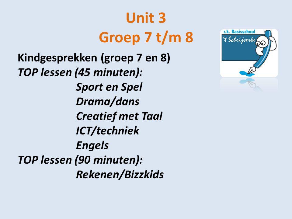 Unit 3 Groep 7 t/m 8 Kindgesprekken (groep 7 en 8) TOP lessen (45 minuten): Sport en Spel Drama/dans Creatief met Taal ICT/techniek Engels TOP lessen