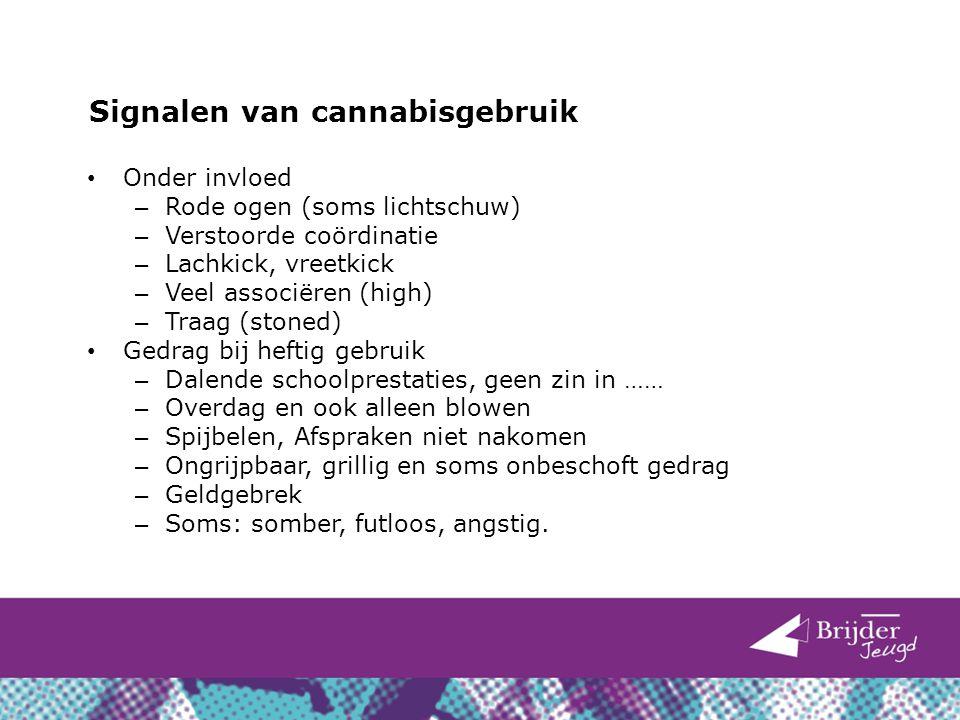 Signalen van cannabisgebruik Onder invloed – Rode ogen (soms lichtschuw) – Verstoorde coördinatie – Lachkick, vreetkick – Veel associëren (high) – Tra