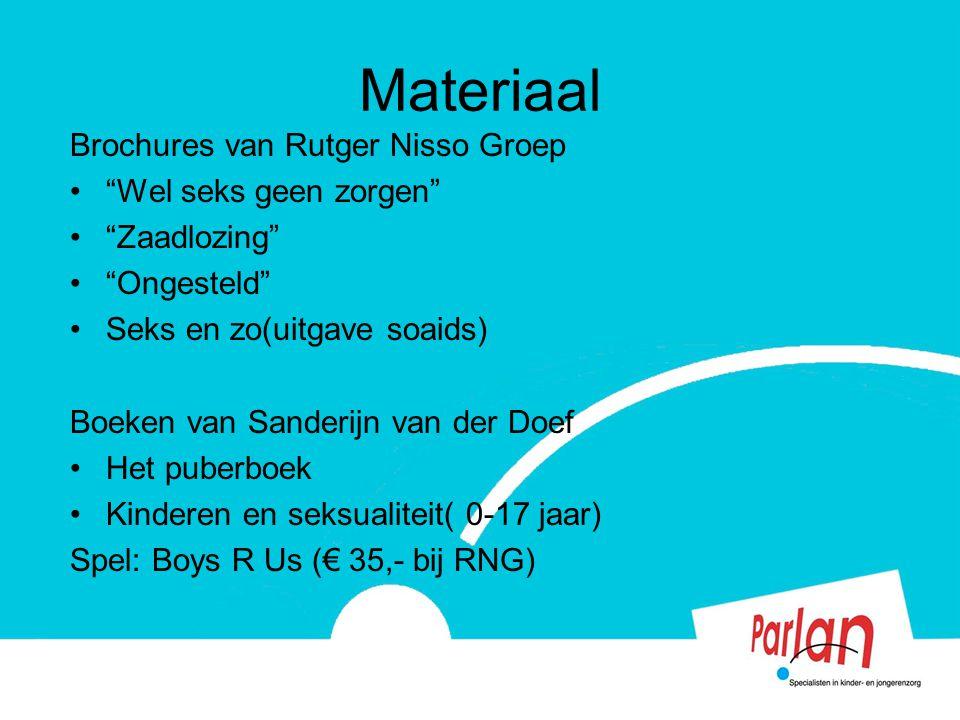 """Materiaal Brochures van Rutger Nisso Groep """"Wel seks geen zorgen"""" """"Zaadlozing"""" """"Ongesteld"""" Seks en zo(uitgave soaids) Boeken van Sanderijn van der Doe"""