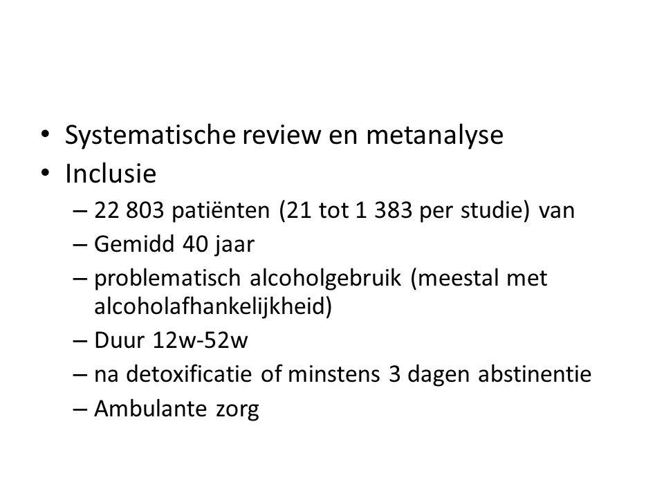 Systematische review en metanalyse Inclusie – 22 803 patiënten (21 tot 1 383 per studie) van – Gemidd 40 jaar – problematisch alcoholgebruik (meestal met alcoholafhankelijkheid) – Duur 12w-52w – na detoxificatie of minstens 3 dagen abstinentie – Ambulante zorg