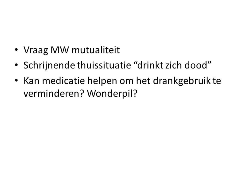 """Vraag MW mutualiteit Schrijnende thuissituatie """"drinkt zich dood"""" Kan medicatie helpen om het drankgebruik te verminderen? Wonderpil?"""