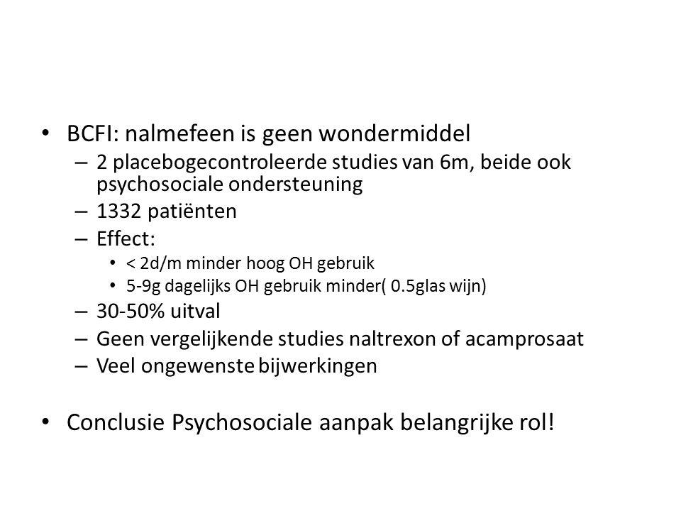 BCFI: nalmefeen is geen wondermiddel – 2 placebogecontroleerde studies van 6m, beide ook psychosociale ondersteuning – 1332 patiënten – Effect: < 2d/m minder hoog OH gebruik 5-9g dagelijks OH gebruik minder( 0.5glas wijn) – 30-50% uitval – Geen vergelijkende studies naltrexon of acamprosaat – Veel ongewenste bijwerkingen Conclusie Psychosociale aanpak belangrijke rol!