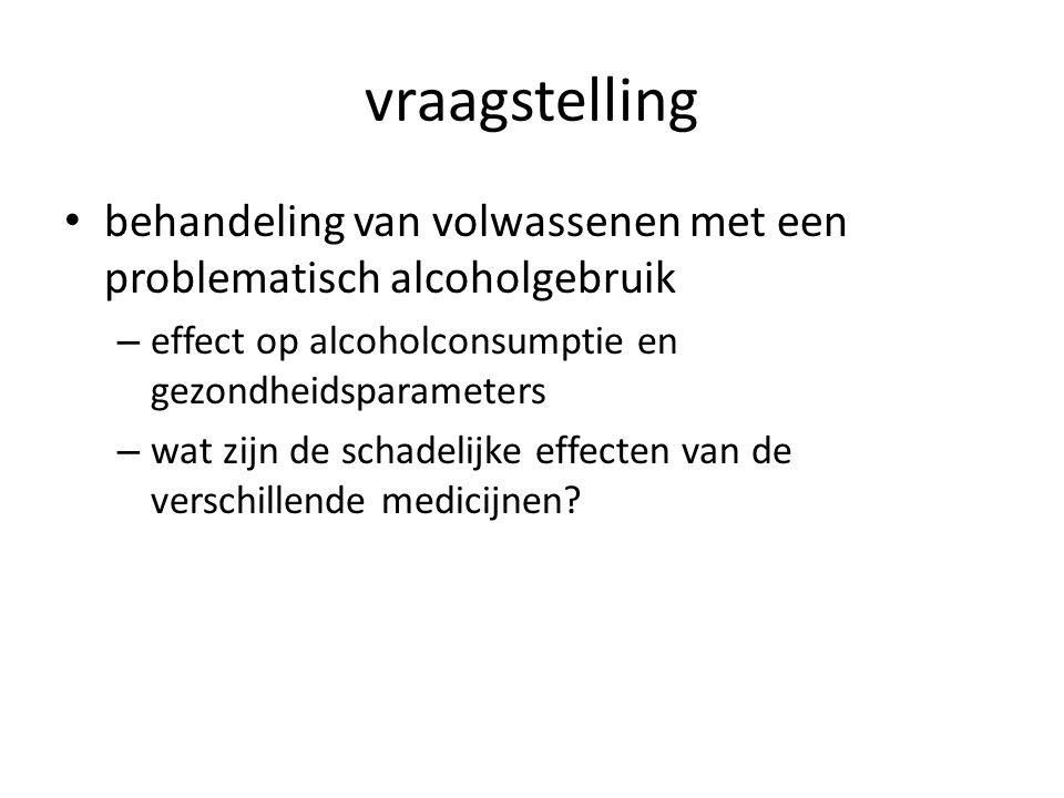vraagstelling behandeling van volwassenen met een problematisch alcoholgebruik – effect op alcoholconsumptie en gezondheidsparameters – wat zijn de schadelijke effecten van de verschillende medicijnen?