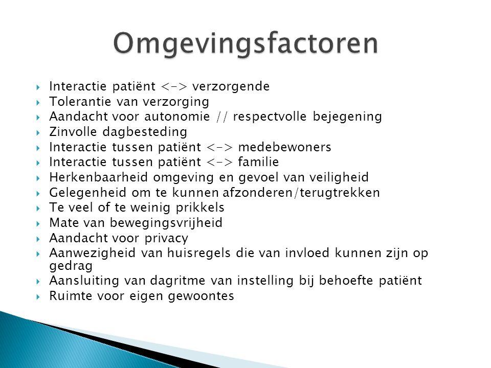  Interactie patiënt verzorgende  Tolerantie van verzorging  Aandacht voor autonomie // respectvolle bejegening  Zinvolle dagbesteding  Interactie