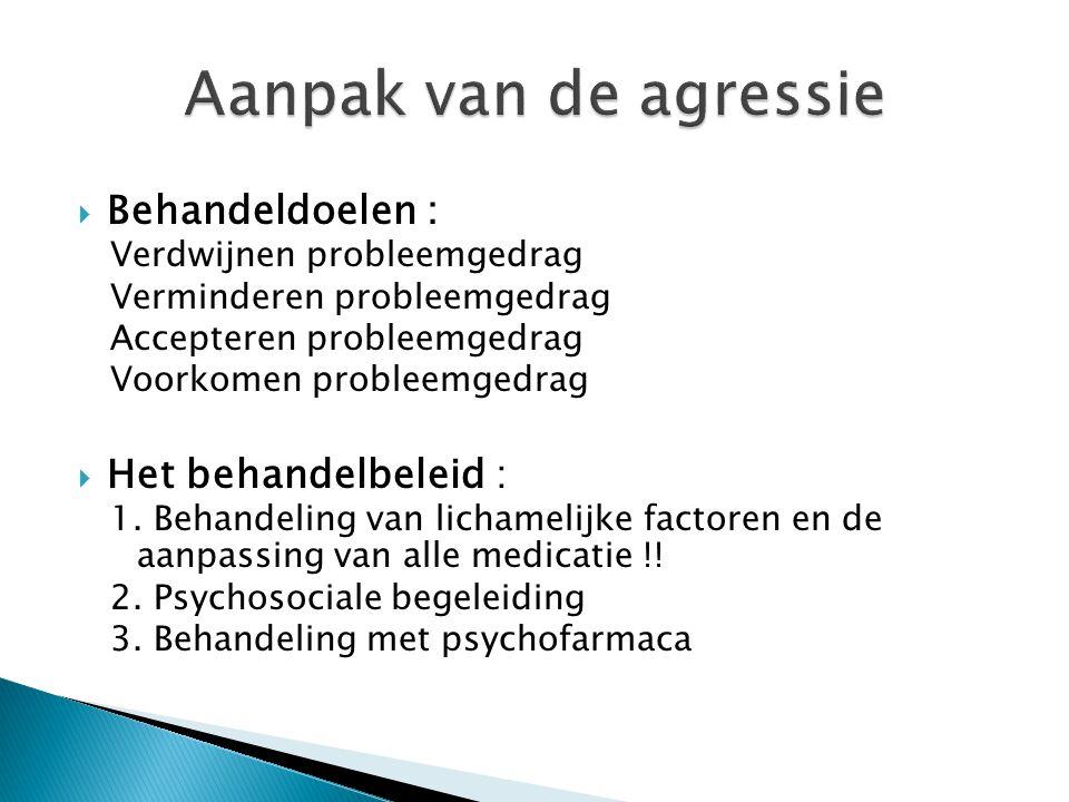  Behandeldoelen : Verdwijnen probleemgedrag Verminderen probleemgedrag Accepteren probleemgedrag Voorkomen probleemgedrag  Het behandelbeleid : 1. B