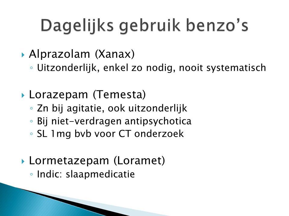  Alprazolam (Xanax) ◦ Uitzonderlijk, enkel zo nodig, nooit systematisch  Lorazepam (Temesta) ◦ Zn bij agitatie, ook uitzonderlijk ◦ Bij niet-verdrag