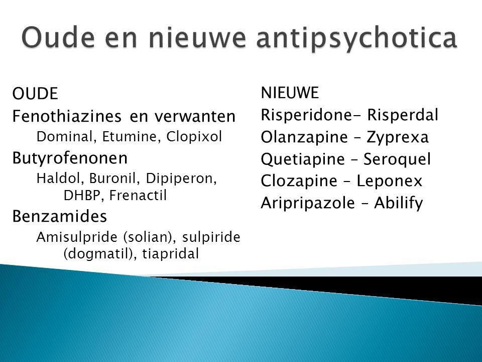NIEUWE Risperidone- Risperdal Olanzapine – Zyprexa Quetiapine – Seroquel Clozapine – Leponex Aripripazole – Abilify OUDE Fenothiazines en verwanten Do