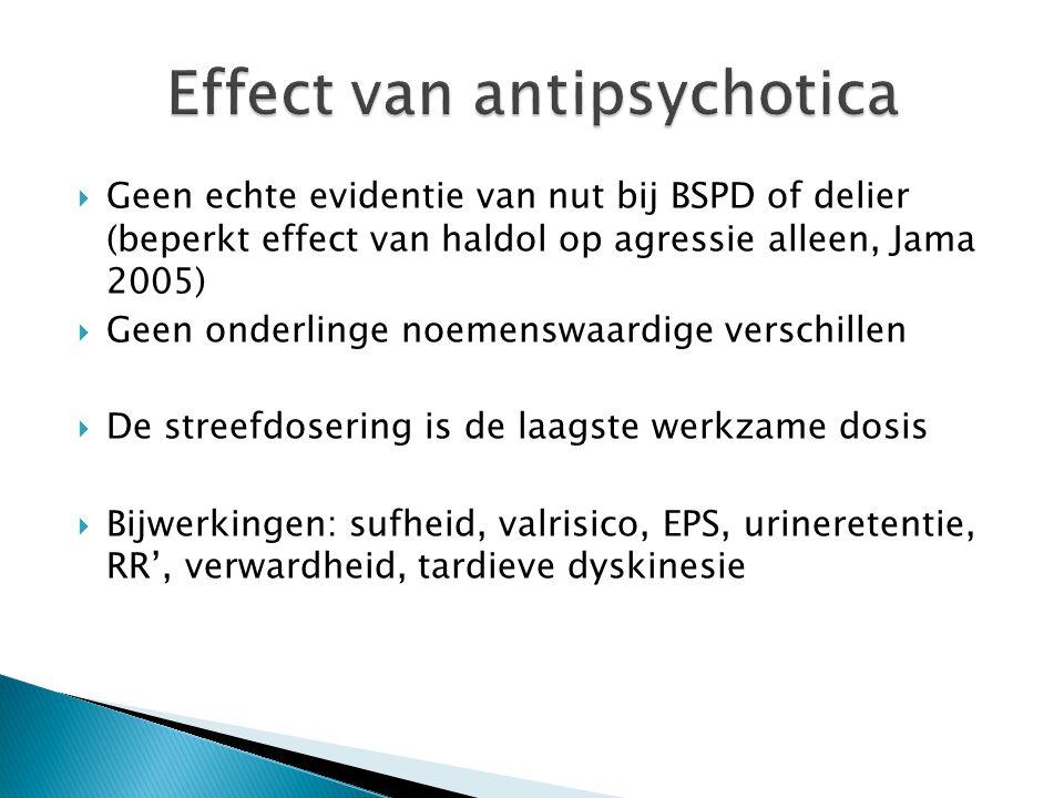  Geen echte evidentie van nut bij BSPD of delier (beperkt effect van haldol op agressie alleen, Jama 2005)  Geen onderlinge noemenswaardige verschil
