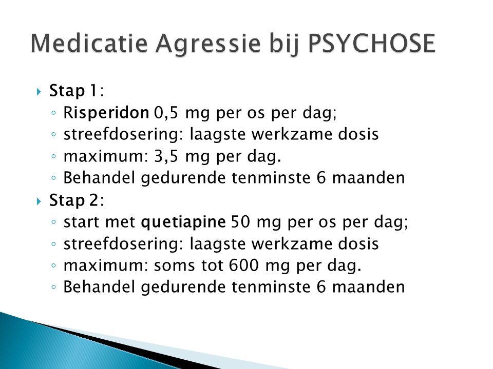  Stap 1: ◦ Risperidon 0,5 mg per os per dag; ◦ streefdosering: laagste werkzame dosis ◦ maximum: 3,5 mg per dag. ◦ Behandel gedurende tenminste 6 maa