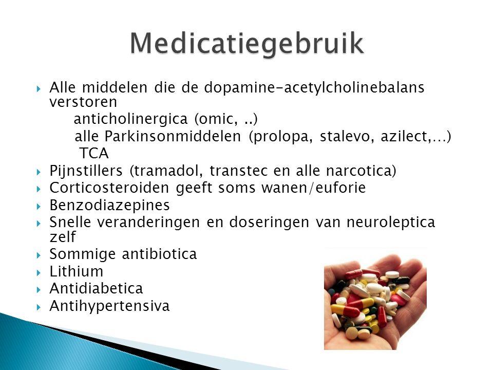  Alle middelen die de dopamine-acetylcholinebalans verstoren anticholinergica (omic,..) alle Parkinsonmiddelen (prolopa, stalevo, azilect,…) TCA  Pi
