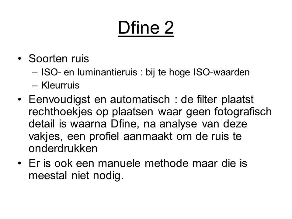 Dfine 2 Soorten ruis –ISO- en luminantieruis : bij te hoge ISO-waarden –Kleurruis Eenvoudigst en automatisch : de filter plaatst rechthoekjes op plaat