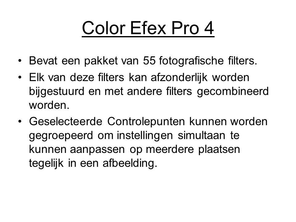 Color Efex Pro 4 Bevat een pakket van 55 fotografische filters. Elk van deze filters kan afzonderlijk worden bijgestuurd en met andere filters gecombi