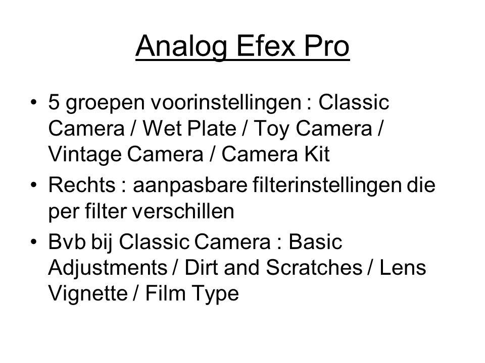 Analog Efex Pro 5 groepen voorinstellingen : Classic Camera / Wet Plate / Toy Camera / Vintage Camera / Camera Kit Rechts : aanpasbare filterinstellin