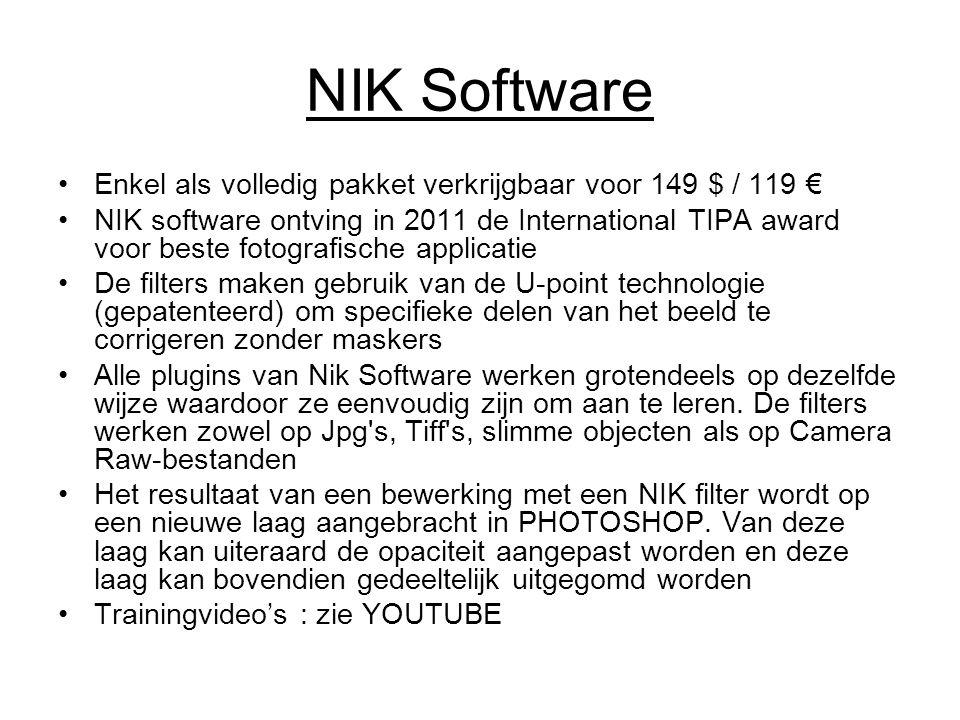 NIK Software Enkel als volledig pakket verkrijgbaar voor 149 $ / 119 € NIK software ontving in 2011 de International TIPA award voor beste fotografisc