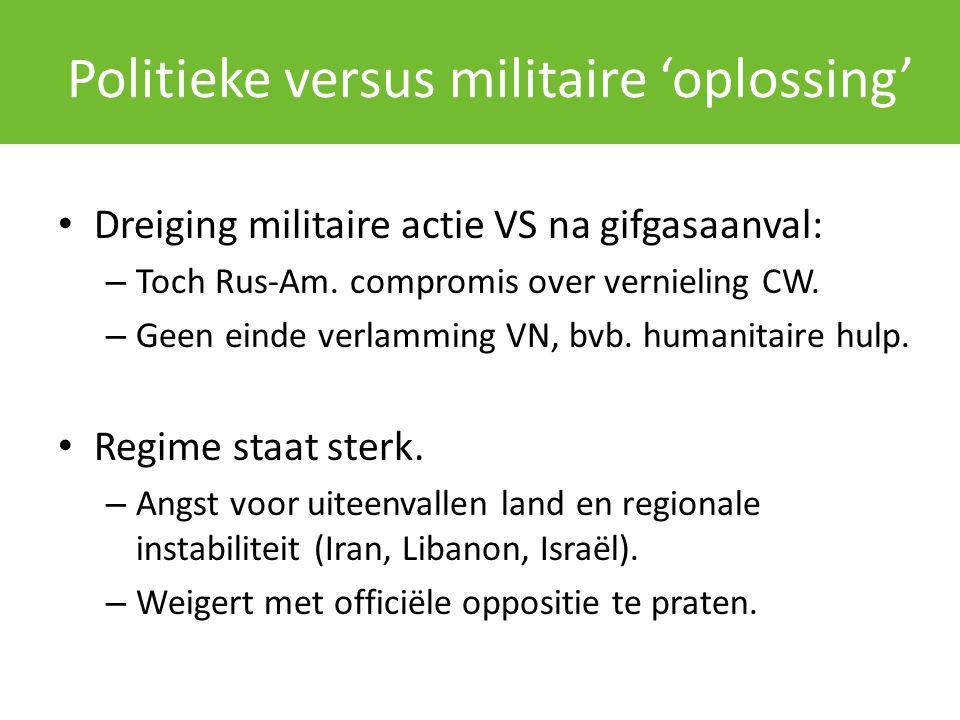Politieke versus militaire 'oplossing' Dreiging militaire actie VS na gifgasaanval: – Toch Rus-Am. compromis over vernieling CW. – Geen einde verlammi