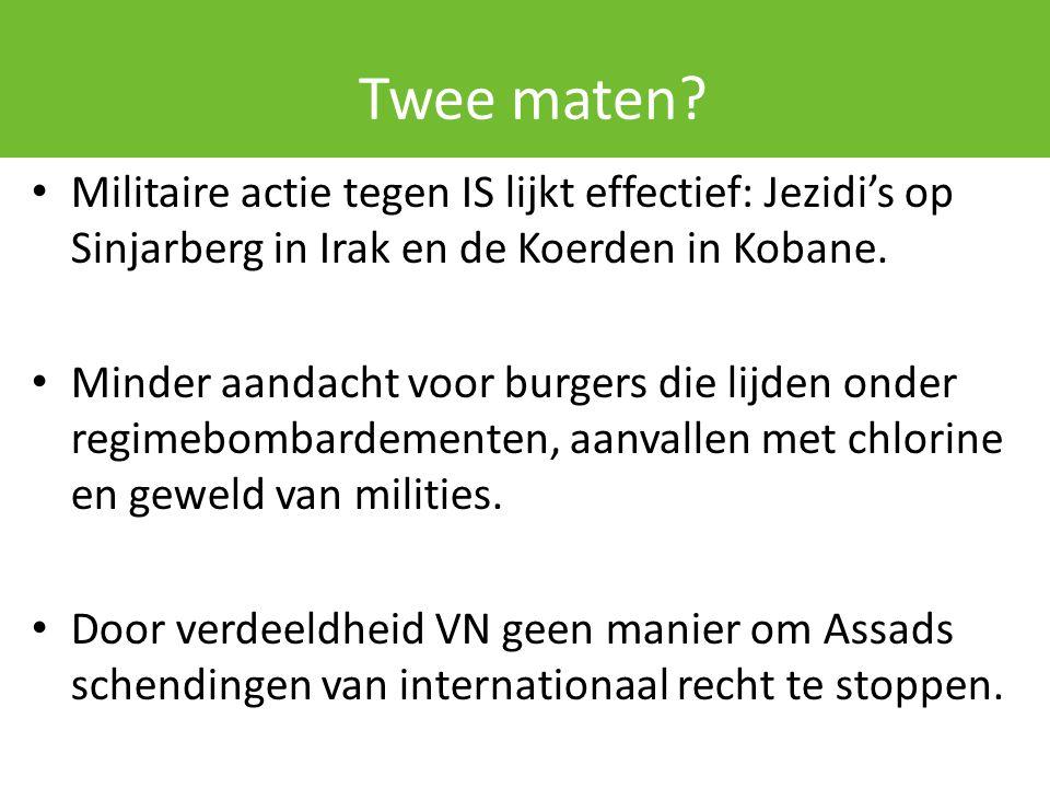 Twee maten? Militaire actie tegen IS lijkt effectief: Jezidi's op Sinjarberg in Irak en de Koerden in Kobane. Minder aandacht voor burgers die lijden