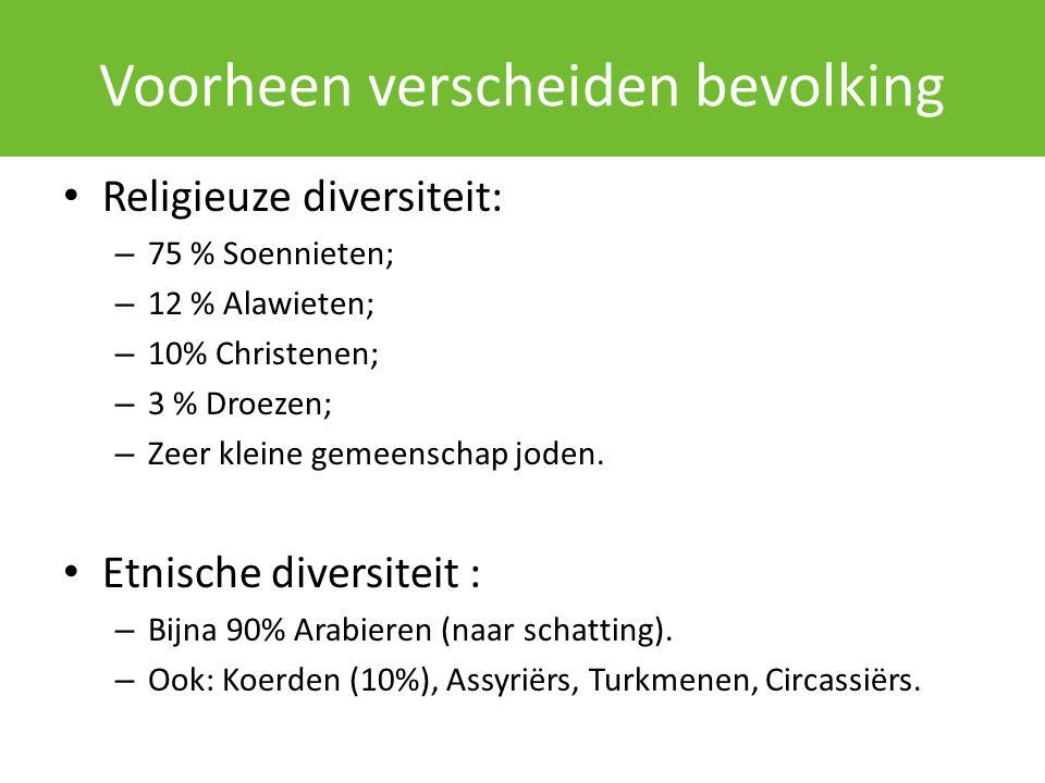 Voorheen verscheiden bevolking Religieuze diversiteit: – 75 % Soennieten; – 12 % Alawieten; – 10% Christenen; – 3 % Droezen; – Zeer kleine gemeenschap