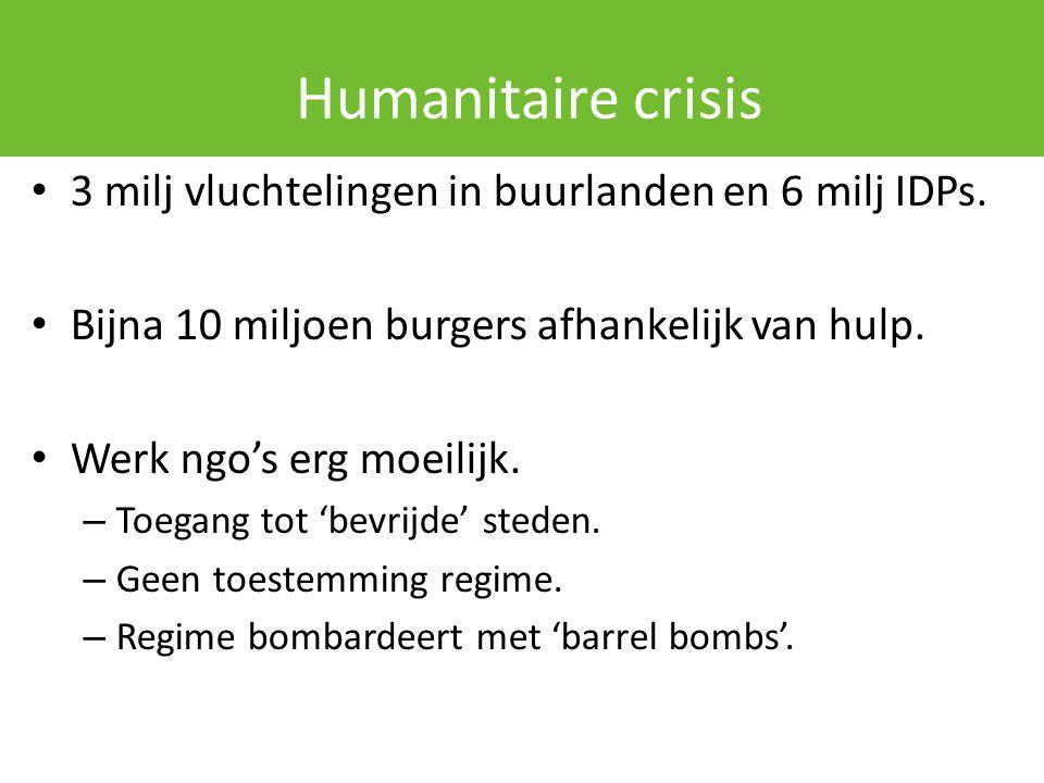 Humanitaire crisis 3 milj vluchtelingen in buurlanden en 6 milj IDPs. Bijna 10 miljoen burgers afhankelijk van hulp. Werk ngo's erg moeilijk. – Toegan