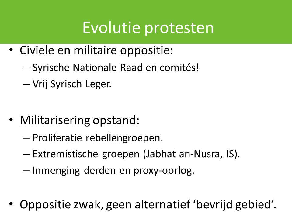 Evolutie protesten Civiele en militaire oppositie: – Syrische Nationale Raad en comités! – Vrij Syrisch Leger. Militarisering opstand: – Proliferatie