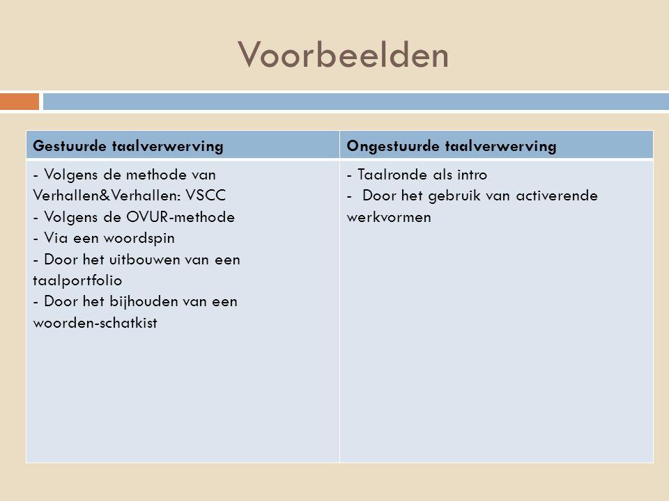 Voorbeelden Gestuurde taalverwervingOngestuurde taalverwerving - Volgens de methode van Verhallen&Verhallen: VSCC - Volgens de OVUR-methode - Via een woordspin - Door het uitbouwen van een taalportfolio - Door het bijhouden van een woorden-schatkist - Taalronde als intro - Door het gebruik van activerende werkvormen