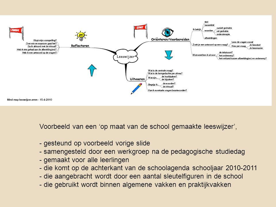 Voorbeeld van een 'op maat van de school gemaakte leeswijzer', - gesteund op voorbeeld vorige slide - samengesteld door een werkgroep na de pedagogisc