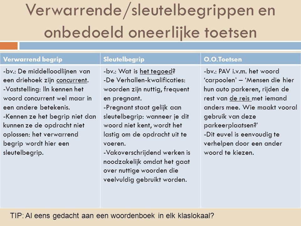 Verwarrende/sleutelbegrippen en onbedoeld oneerlijke toetsen Verwarrend begripSleutelbegripO.O.Toetsen -bv.: De middelloodlijnen van een driehoek zijn concurrent.