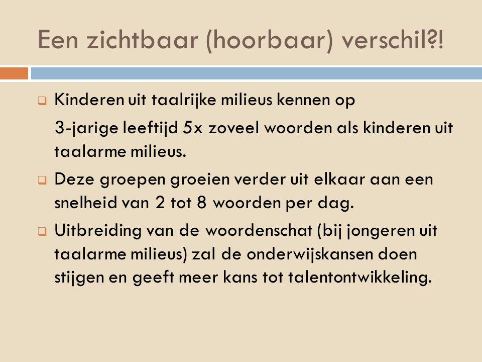 Een zichtbaar (hoorbaar) verschil?!  Kinderen uit taalrijke milieus kennen op 3-jarige leeftijd 5x zoveel woorden als kinderen uit taalarme milieus.
