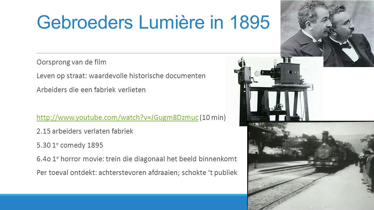 Stomme film - Geluidsfilm  nog niet mogelijk geluid op te nemen gelijktijdig  tussentitels  passende live muziek  vanaf 1927 stomme film verdrongen door geluidsfilm  ontstaan diverse genres:  actiefilm, animatiefilm, sciencefiction, thrillers, documentaires etc.
