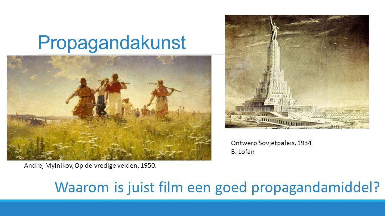 Film als propagandamiddel  Zowel Hitler als Lenin en zijn opvolger Stalin, ontdekten het medium film als instrument om de werkelijkheid te manipuleren  Film: effectieve propaganda waarmee je zelfs de ongeletterde massa kan bereiken  film kan je tegelijkertijd op verschillende plaatsen laten zien  Film was een nieuw & modern medium