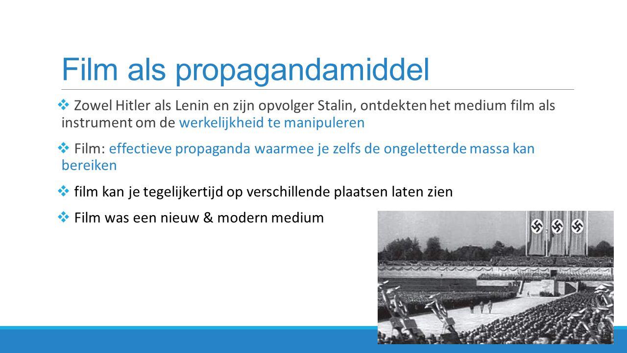 Leni Riefenstahl - Propaganda films  Hitler nodigde Riefenstahl uit partei-films te maken  1934 verheerlijkte Leni Riefenstahl in haar film: Triumph des Willens het nazi-regime  partijdag van de nazi's in Neurenberg  lijkt een authentieke documentaire, maar alles is in scène gezet  voor maximaal effect geregisseerd  Trimph des Willens, 1934  http://www.youtube.com/watch?v=GHs2coAzLJ8 http://www.youtube.com/watch?v=GHs2coAzLJ8  Hoe wordt die verheerlijking van Hitler's partij verbeeld?