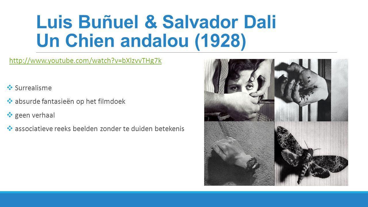 Réne Clair – Entr'Acte (1924) http://www.youtube.com/watch?v=UnXdYxvBHf8 Surrealistische film Muziek: Eric Satie  filmbeelden die associatief en irrationeel met elkaar verbonden worden  mannelijke dansers met baarden in tutu s