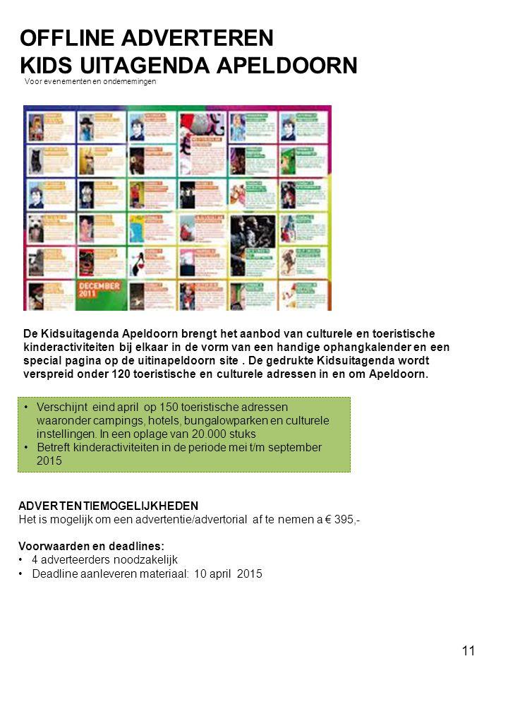 De Kidsuitagenda Apeldoorn brengt het aanbod van culturele en toeristische kinderactiviteiten bij elkaar in de vorm van een handige ophangkalender en