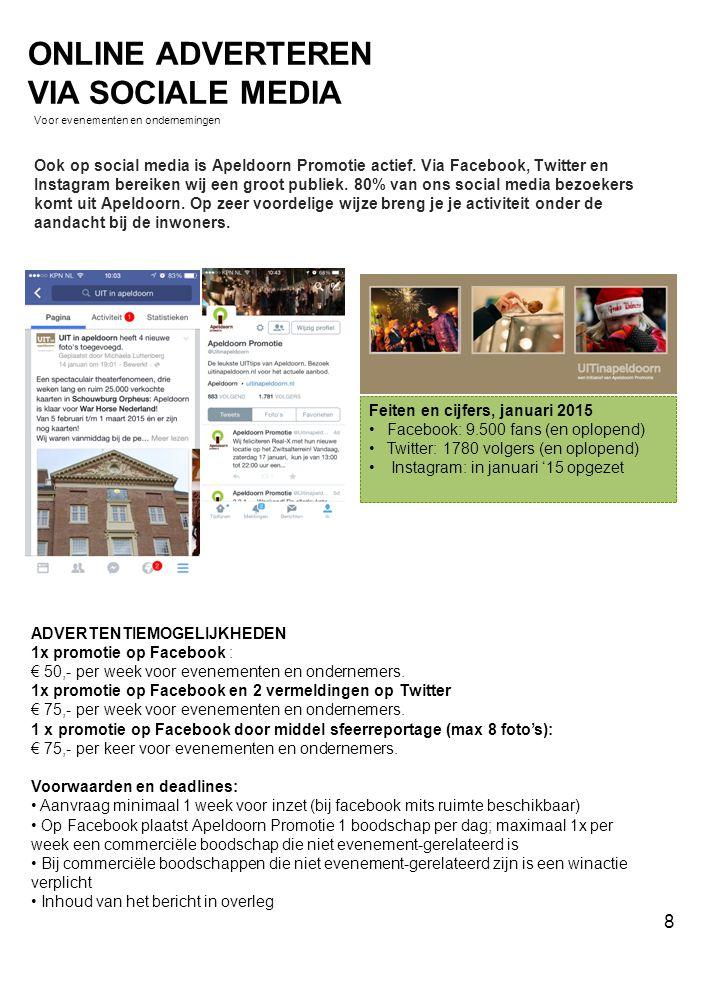 Ook op social media is Apeldoorn Promotie actief. Via Facebook, Twitter en Instagram bereiken wij een groot publiek. 80% van ons social media bezoeker