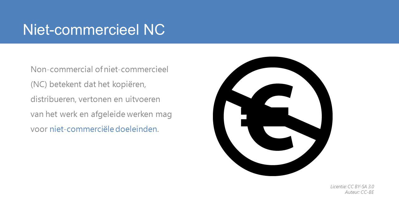Niet-commercieel NC Non-commercial of niet-commercieel (NC) betekent dat het kopiëren, distribueren, vertonen en uitvoeren van het werk en afgeleide werken mag voor niet-commerciële doeleinden.