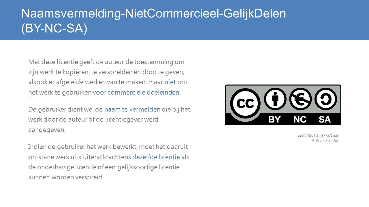 Naamsvermelding-NietCommercieel-GelijkDelen (BY-NC-SA) Met deze licentie geeft de auteur de toestemming om zijn werk te kopiëren, te verspreiden en door te geven, alsook er afgeleide werken van te maken, maar niet om het werk te gebruiken voor commerciële doeleinden.