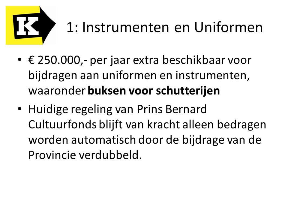 1: Instrumenten en Uniformen € 250.000,- per jaar extra beschikbaar voor bijdragen aan uniformen en instrumenten, waaronder buksen voor schutterijen Huidige regeling van Prins Bernard Cultuurfonds blijft van kracht alleen bedragen worden automatisch door de bijdrage van de Provincie verdubbeld.