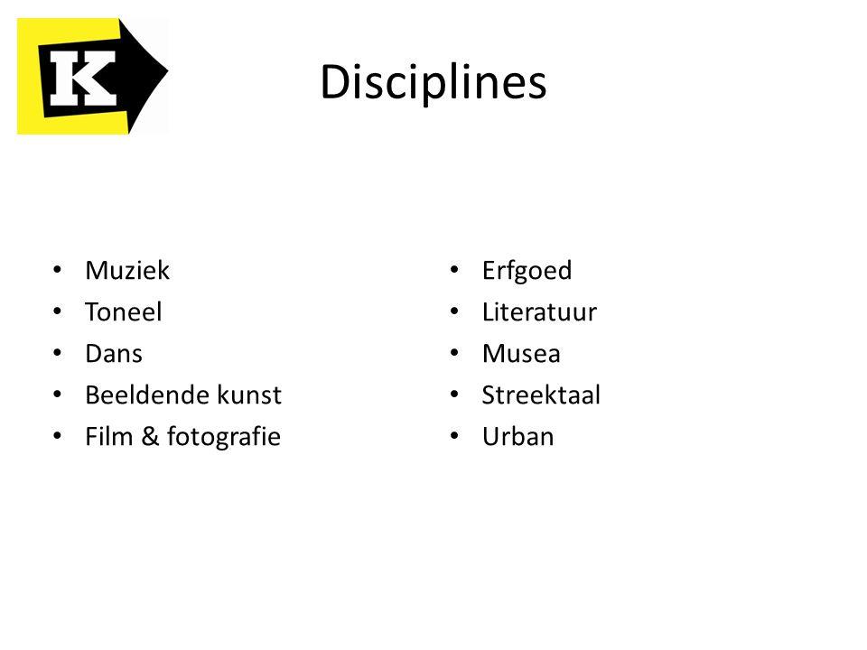 Disciplines Muziek Toneel Dans Beeldende kunst Film & fotografie Erfgoed Literatuur Musea Streektaal Urban
