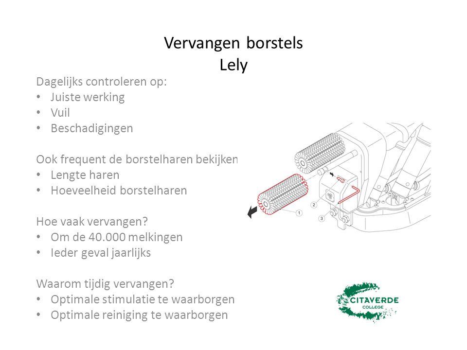 Vervangen borstels Lely Dagelijks controleren op: Juiste werking Vuil Beschadigingen Ook frequent de borstelharen bekijken Lengte haren Hoeveelheid bo