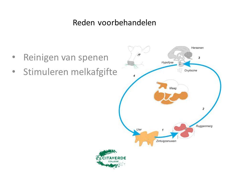 Voorbehandeling bij DeLaval Individuele reiniging spenen -lauw water -lucht: turbulentie Stimuleren melkgift Eerste straal wordt uitgemolken Drogen spenen voor het melken Aparte voorbehandelbeker