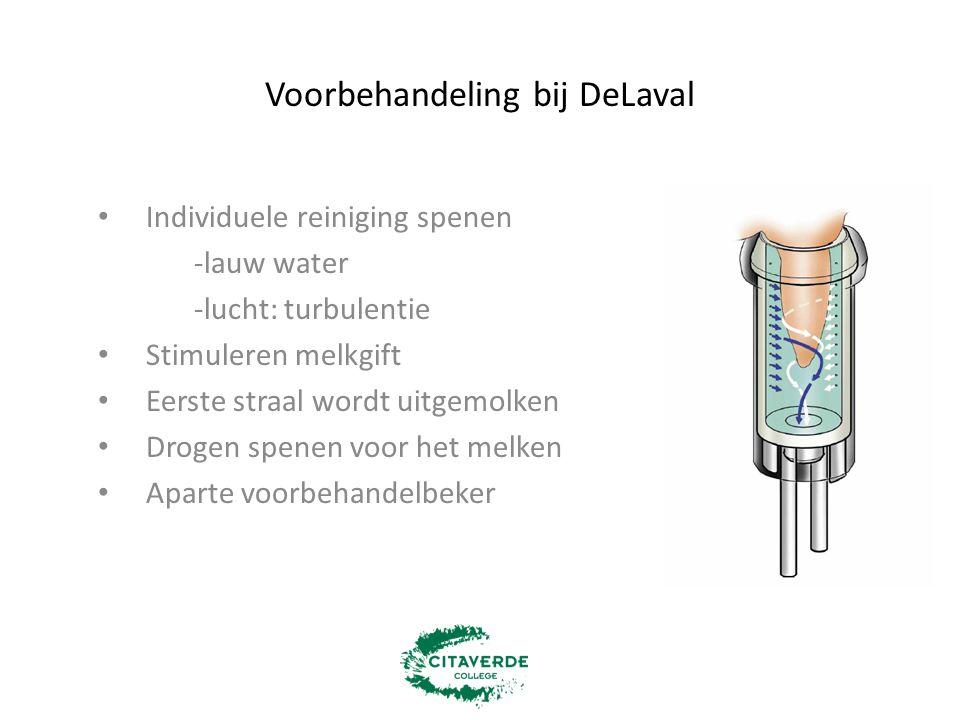 Voorbehandeling bij DeLaval Individuele reiniging spenen -lauw water -lucht: turbulentie Stimuleren melkgift Eerste straal wordt uitgemolken Drogen sp